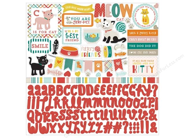 Echo Park Sticker 12 x 12 in. Meow Collection Element (15 sheets)