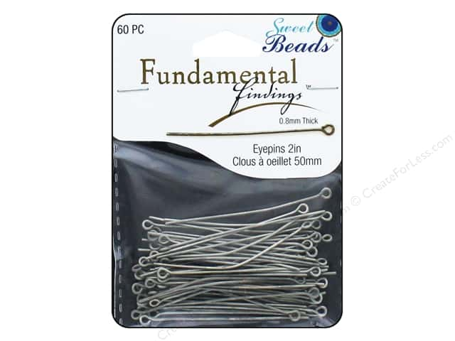 Sweet Beads Fundamental Finding Eyepins 50 x 0.8 mm 60 pc. Antique Silver