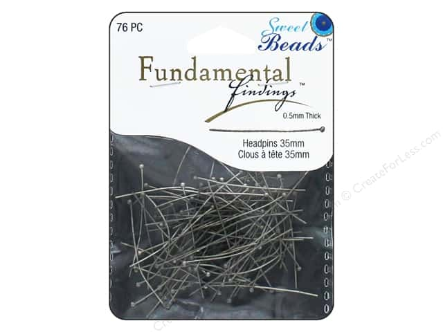 Sweet Beads Fundamental Finding Headpins 35 x .5 mm Antique Silver 76 pc.