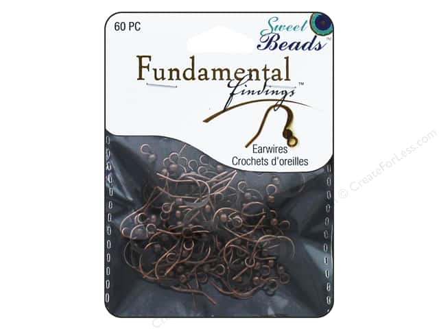 Sweet Beads Fundamental Finding Earwire with Bead Antique Copper 60pc