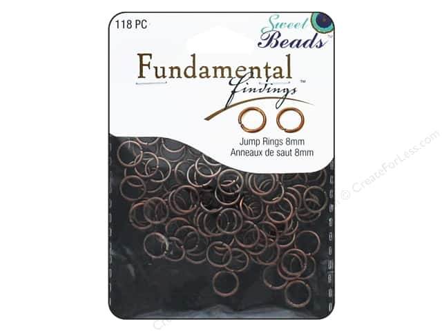 Sweet Beads Fundamental Finding Jump Rings 8 mm Antique Copper 118 pc.