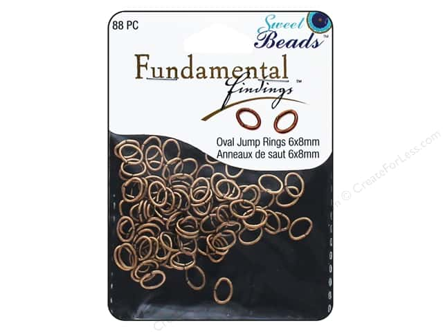 Sweet Beads Fundamental Finding Oval Jump Rings 8 x 6 mm Antique Copper 88 pc.
