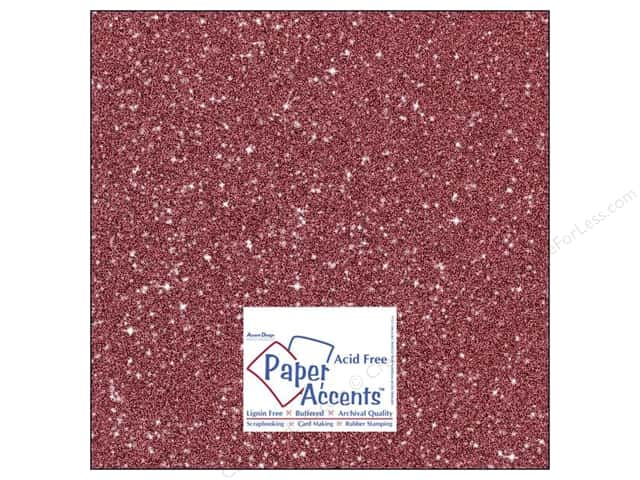 Cardstock 12 x 12 in. #5107 Glitz Silver/Crimson by Paper Accents 5 pc.
