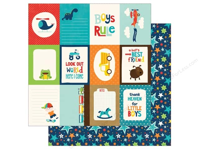 Echo Park 12 x 12 in. Paper Little Man Journaling Cards 3 x 4 in. (25 sheets)