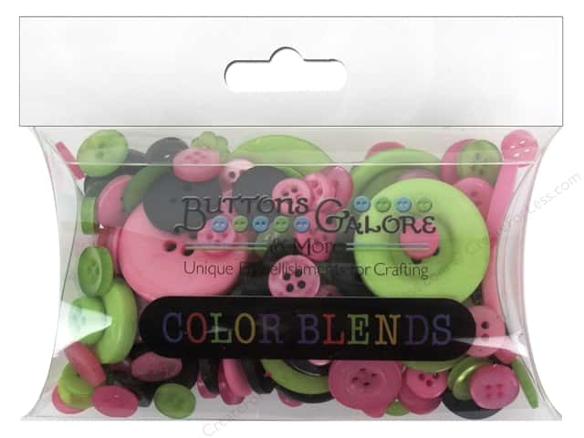 Buttons Galore Button Color Blends 3 oz. Pink, Black & Lime Mix