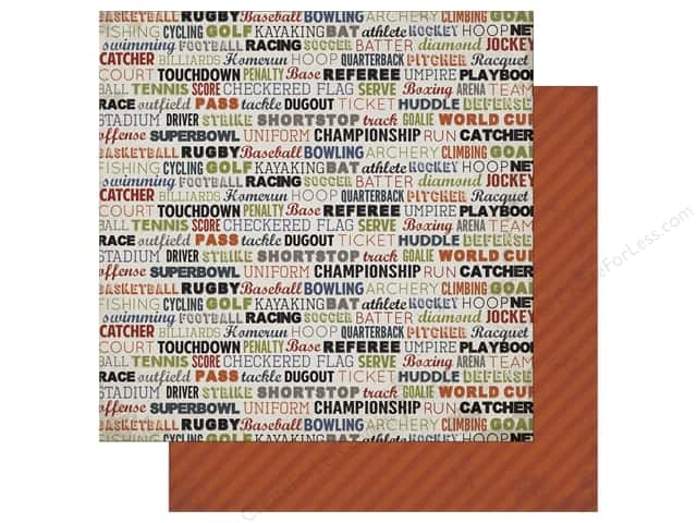 Carta Bella 12 x 12 in. Paper Work Hard Play Hard Sport Words (25 sheets)