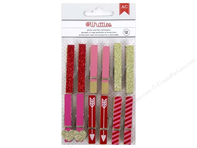 American Crafts Whittles Clothespins 12 pc. Glitter Foil Valentine