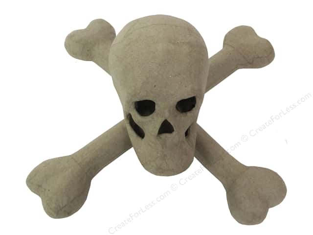 PA Paper Mache Skull and Crossbones 9 3/4 in.