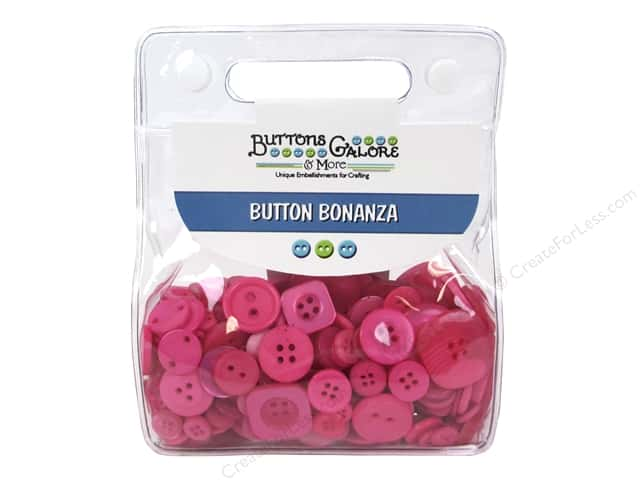 Buttons Galore Button Bonanza 1/2 lb. Brilliant Pink