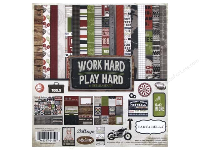 Carta Bella 12 x 12 in. Collection Kit Work Hard Play Hard
