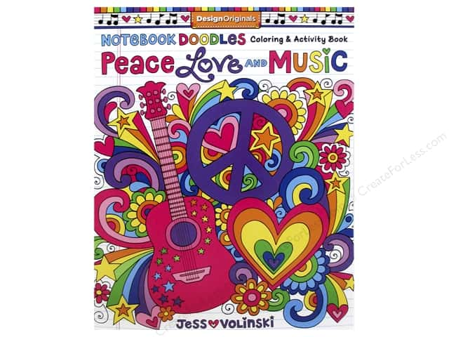 Design Originals Notebook Doodles Peace Love & Music Coloring Book