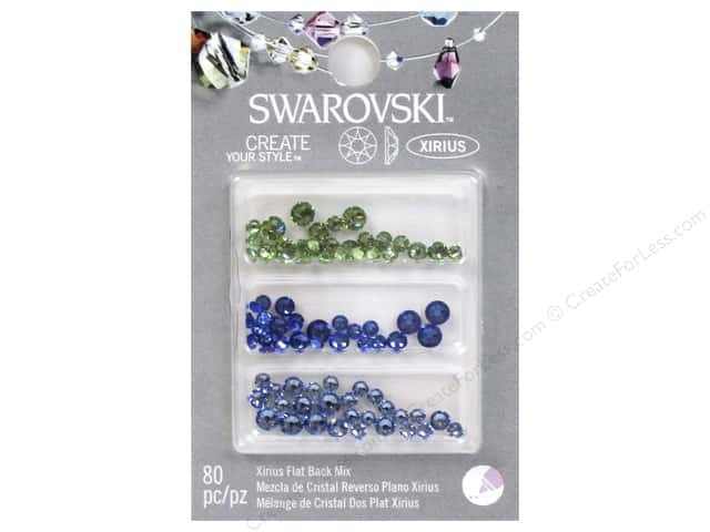 Cousin Swarovski Flatback Rhinestone Mix 80 pc. Blue Green