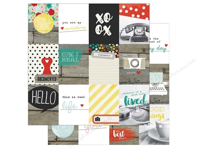 "Simple Stories Collection Life In Color Paper 12""x 12"" Journaling Card Elements 3""x 4"" (25 sheets)"