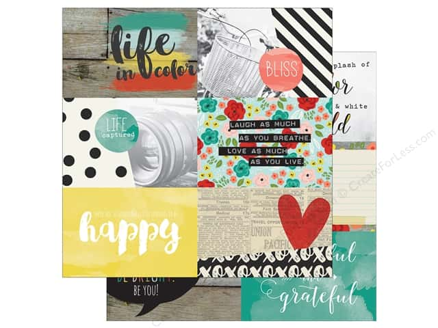 "Simple Stories Collection Life In Color Paper 12""x 12"" Journaling Card Elements Horizontal (25 sheets)"