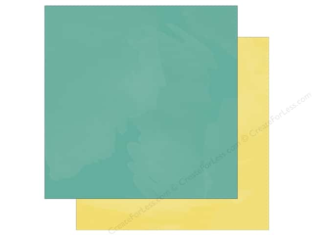 "Simple Stories Collection Life In Color Paper 12""x 12"" Teal Watercolor/Yellow Watercolor (25 sheets)"