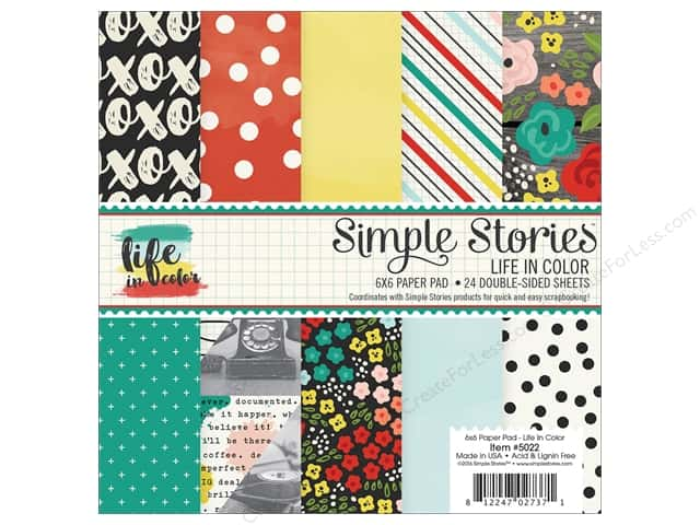"Simple Stories Collection Life In Color Paper Pad 6""x 6"""
