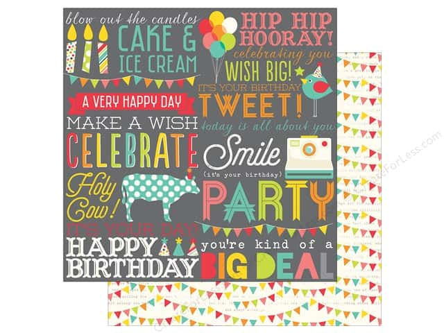 Simple Stories 12 x 12 in. Paper Let's Party Hip Hip Hooray (25 sheets)