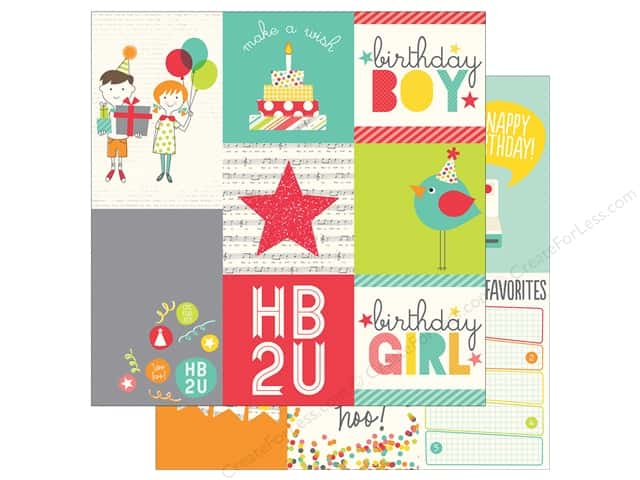 Simple Stories 12 x 12 in. Paper Let's Party Vertical 4 x 6 & 4 x 4 in. (25 sheets)
