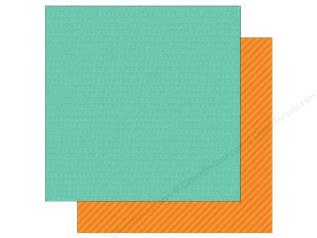 Simple Stories 12 x 12 in. Paper Let's Party Teal Streamers & Orange Stripes (25 sheets)