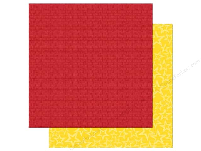 Simple Stories 12 x 12 in. Paper Let's Party Red Wishes & Yellow Stars (25 sheets)