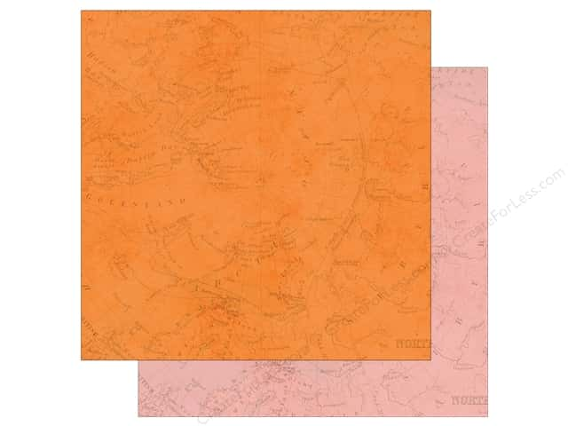 Simple Stories 12 x 12 in. Paper You Are Here Map Orange & Pink (25 sheets)