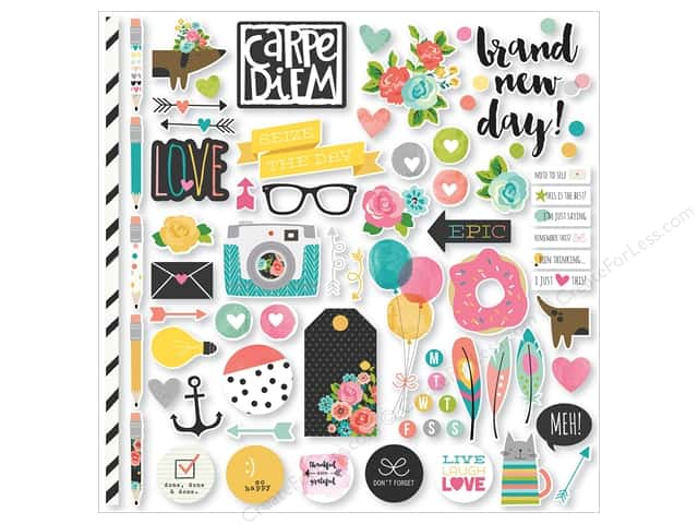 Simple Stories Collection Carpe Diem Sticker Fundamentals (12 sets)