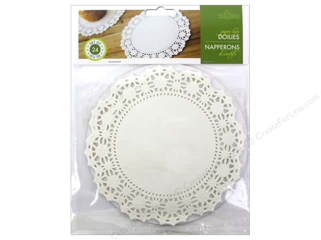 "Fox Run Craftsmen Paper Doily 6"" Round 24 pc White"