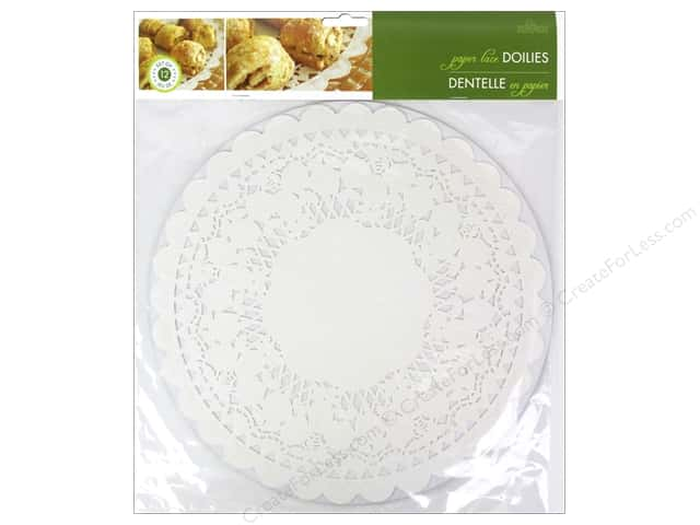 "Fox Run Paper Doily 12"" Round 12pc White"