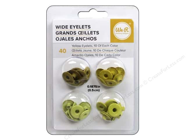 We R Memory Keepers Wide Eyelets 40 pc. Yellow