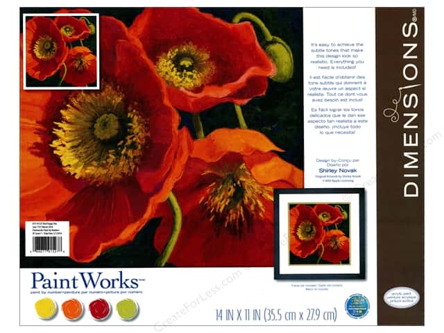 "Paintworks Paint By Number 11""x 11"" Red Poppy Trio"