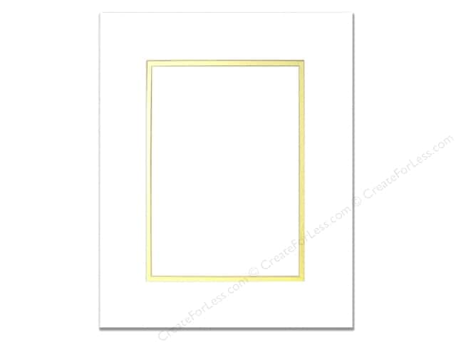 Pre-cut Double Photo Mat Board by Accent Design White Core 8 x 10 in. for 5 x 7 in. Photo White/Gold