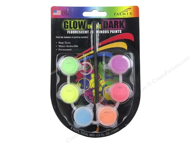 Palmer Acrylic Paint Pot Set - 6 Color Mini Glow In The Dark