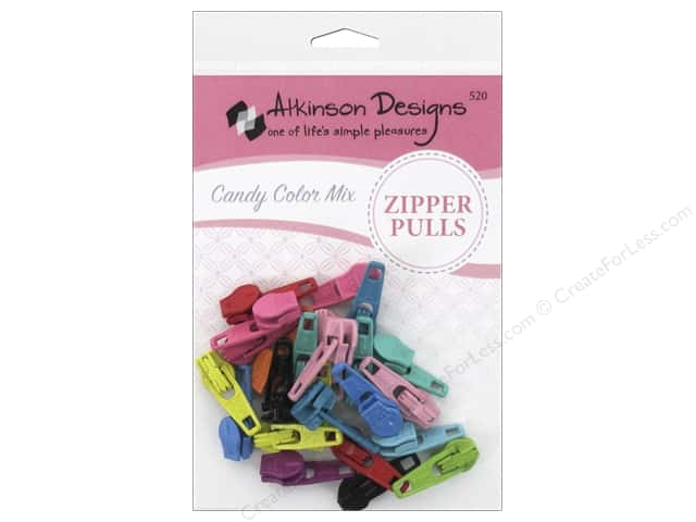 Atkinson Zipper Pulls by YKK 30 pc. Candy Colors