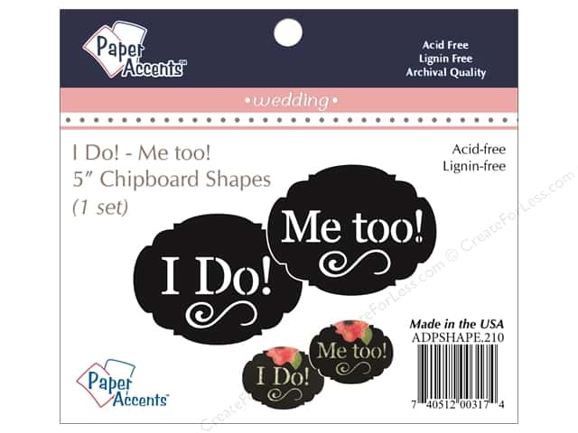 Paper Accents Chipboard Shape I Do/Me Too 1 Set Black