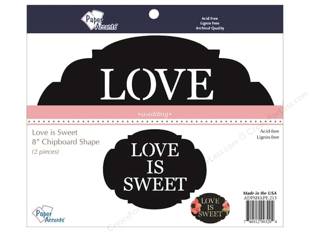 Paper Accents Chipboard Shape Love is Sweet 2 pc. Black