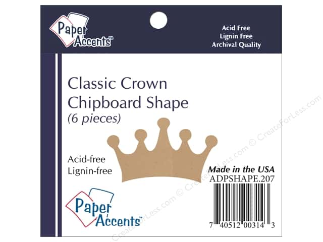 Paper Accents Chipboard Shape Classic Crown 6 pc. Kraft