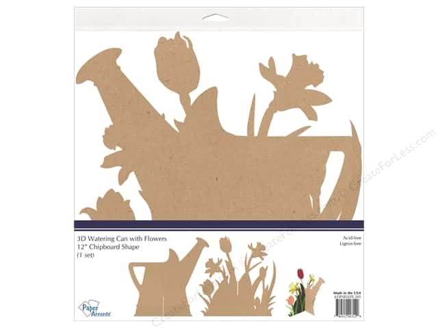 Paper Accents Chipboard Shape 12 in. 3D Watering Can With Flowers Natural