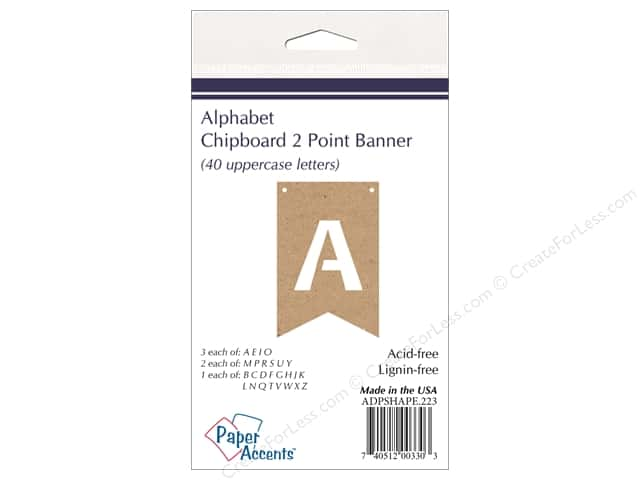 Paper Accents Chipboard Banner Alphabet 40 pc. Natural