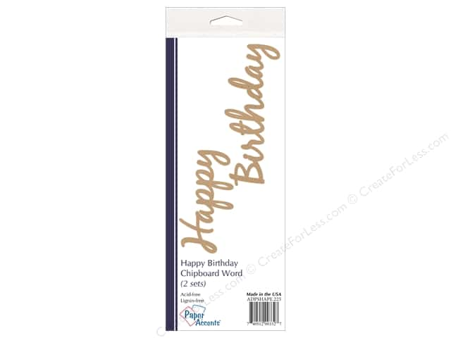 Paper Accents Chipboard Word Happy Birthday 2 Sets Kraft