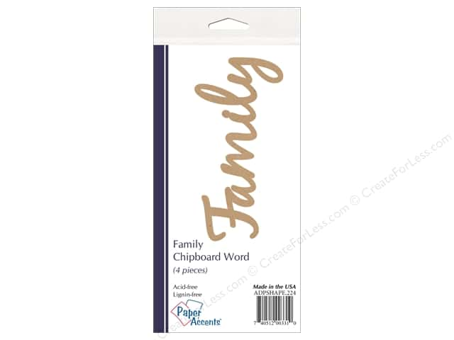 Paper Accents Chipboard Word Family 4 pc. Kraft