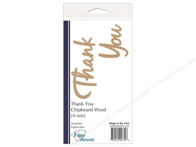 Paper Accents Chipboard Word Thank You 4 Sets Kraft