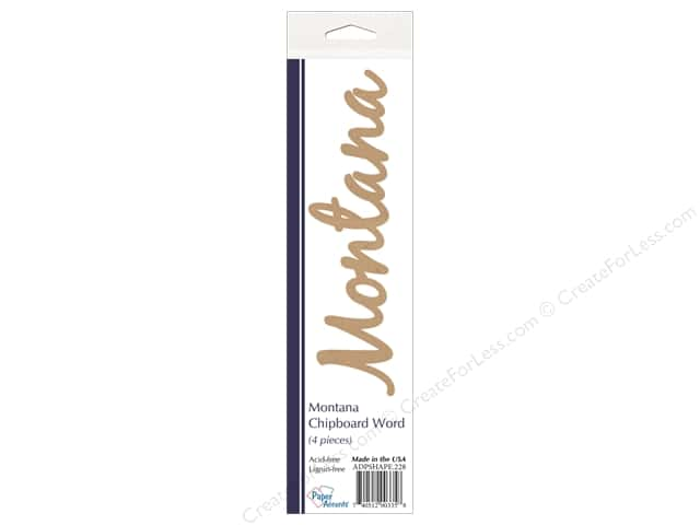 Paper Accents Chipboard Word Montana 4 pc. Kraft