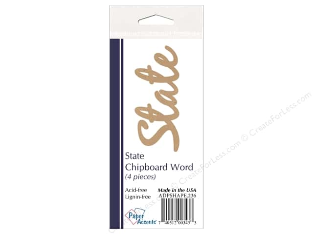 Paper Accents Chipboard Word State 4 pc. Kraft