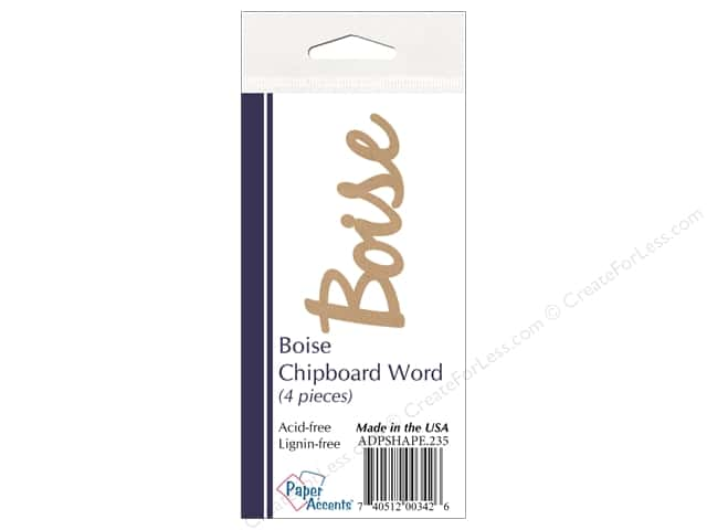 Paper Accents Chipboard Word Boise 4 pc. Kraft