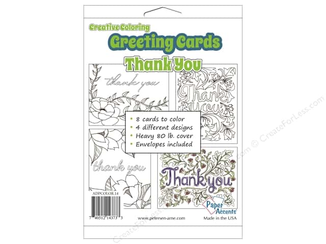 Paper Accents Creative Coloring Card & Envelopes 4 1/4 x 5 1/2 in. 8 pc. Thank You