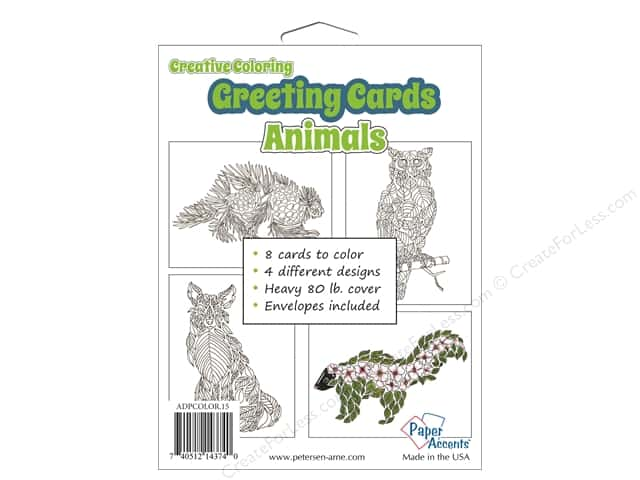 Paper Accents Creative Coloring Card & Envelopes 4 1/4 x 5 1/2 in. 8 pc. Animals