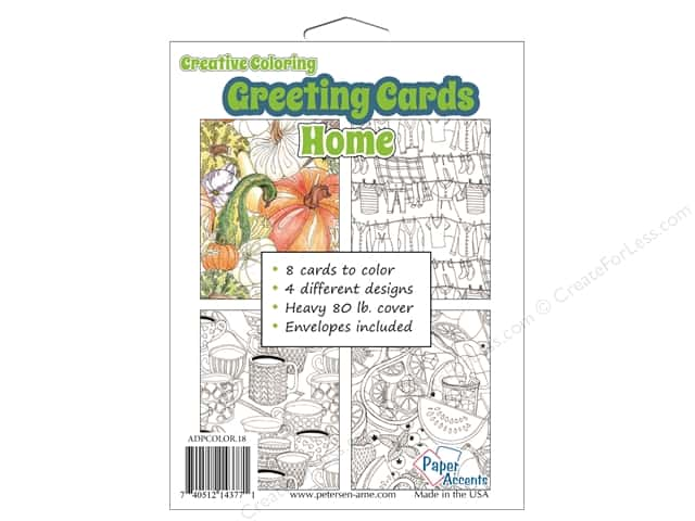 Paper Accents Creative Coloring Card & Envelopes 4 1/4 x 5 1/2 in. 8 pc. Home