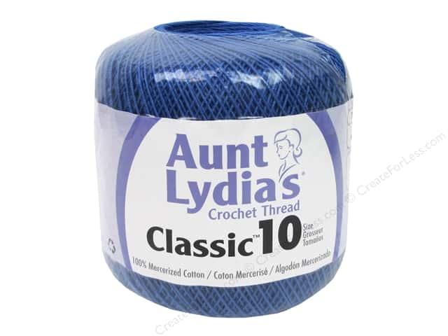 Aunt Lydia's Classic Cotton Crochet Thread Size 10 350 yd. Blue Hawaii