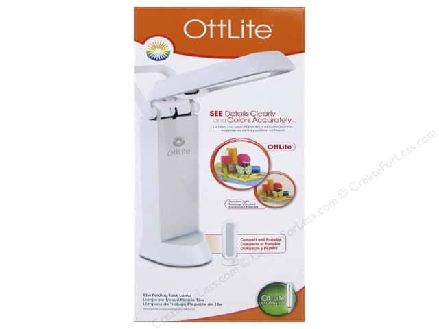 OttLite Folding Task Table Lamp White