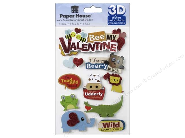 Paper House Sticker 3D Bee My Valentine
